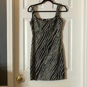 BCBG Mini Dress Black White Dots Empire Waist 6